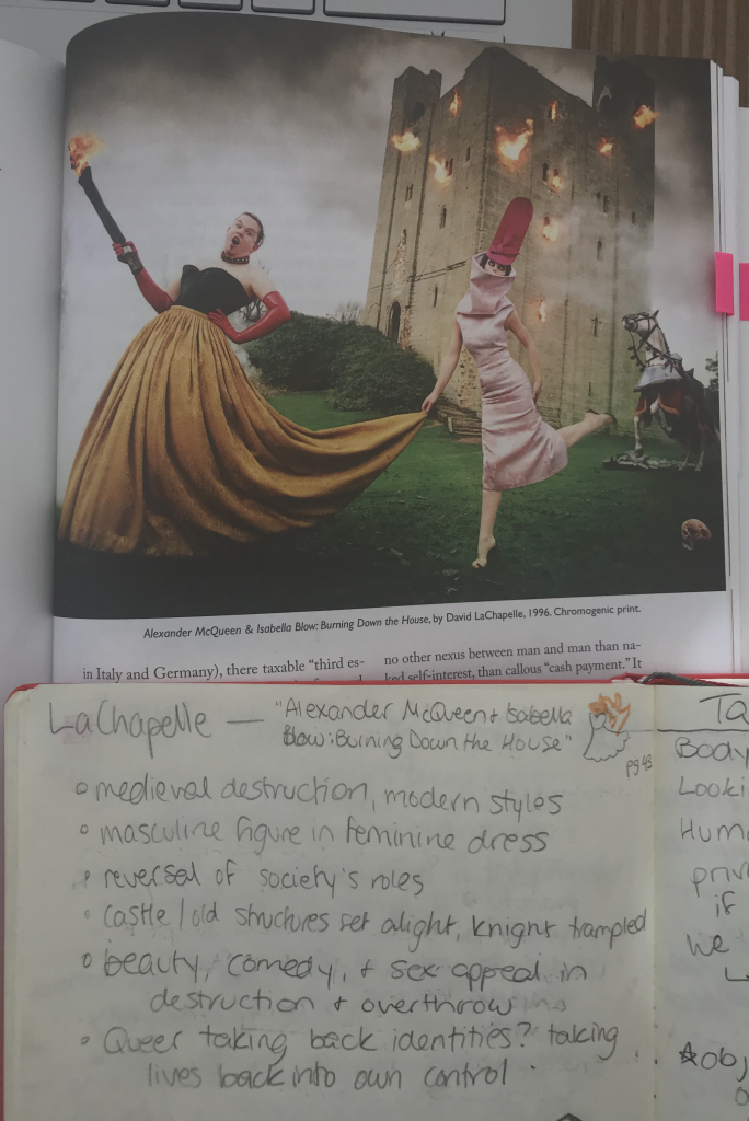 """Top: Two drag queens reveling in the destruction of a medieval-style castle. Bottom: """"medieval destruction, modern styles; masculine figure in feminine dress; reversal of society's roles; castle/old structures set alight, knight trampled; beauty, comedy, & sex appeal in destruction & overthrow; queer taking back identities? taking lives back into own control"""""""