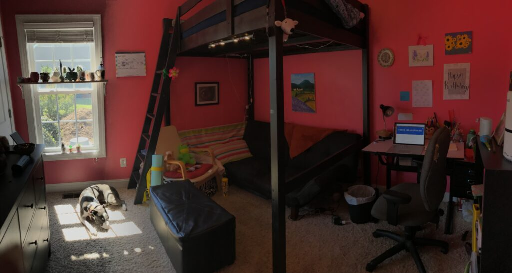 A picture of the neon-pink walls in my childhood bedroom.